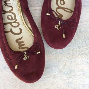 Sam Edelman Shoes - Sam Edelman | Felicia Burgundy Suede Leather Flats